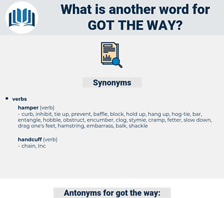 got the way, synonym got the way, another word for got the way, words like got the way, thesaurus got the way
