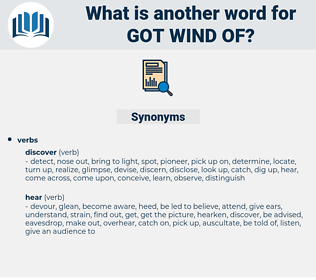 got wind of, synonym got wind of, another word for got wind of, words like got wind of, thesaurus got wind of