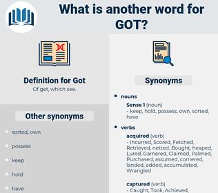 Got, synonym Got, another word for Got, words like Got, thesaurus Got