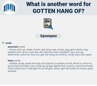 gotten hang of, synonym gotten hang of, another word for gotten hang of, words like gotten hang of, thesaurus gotten hang of