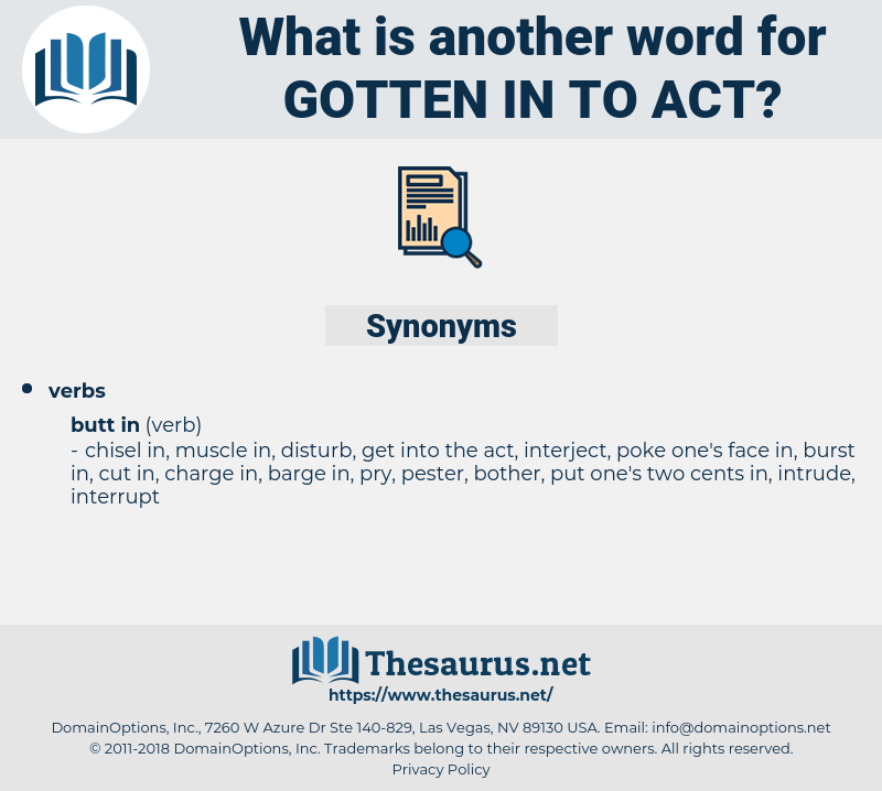 gotten in to act, synonym gotten in to act, another word for gotten in to act, words like gotten in to act, thesaurus gotten in to act