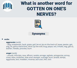 gotten on one's nerves, synonym gotten on one's nerves, another word for gotten on one's nerves, words like gotten on one's nerves, thesaurus gotten on one's nerves