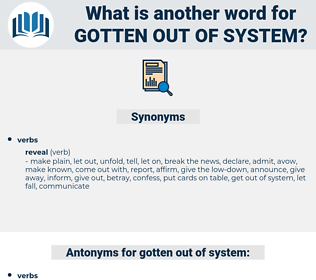 gotten out of system, synonym gotten out of system, another word for gotten out of system, words like gotten out of system, thesaurus gotten out of system