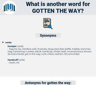 gotten the way, synonym gotten the way, another word for gotten the way, words like gotten the way, thesaurus gotten the way