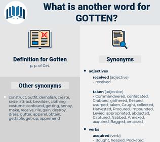 Gotten, synonym Gotten, another word for Gotten, words like Gotten, thesaurus Gotten