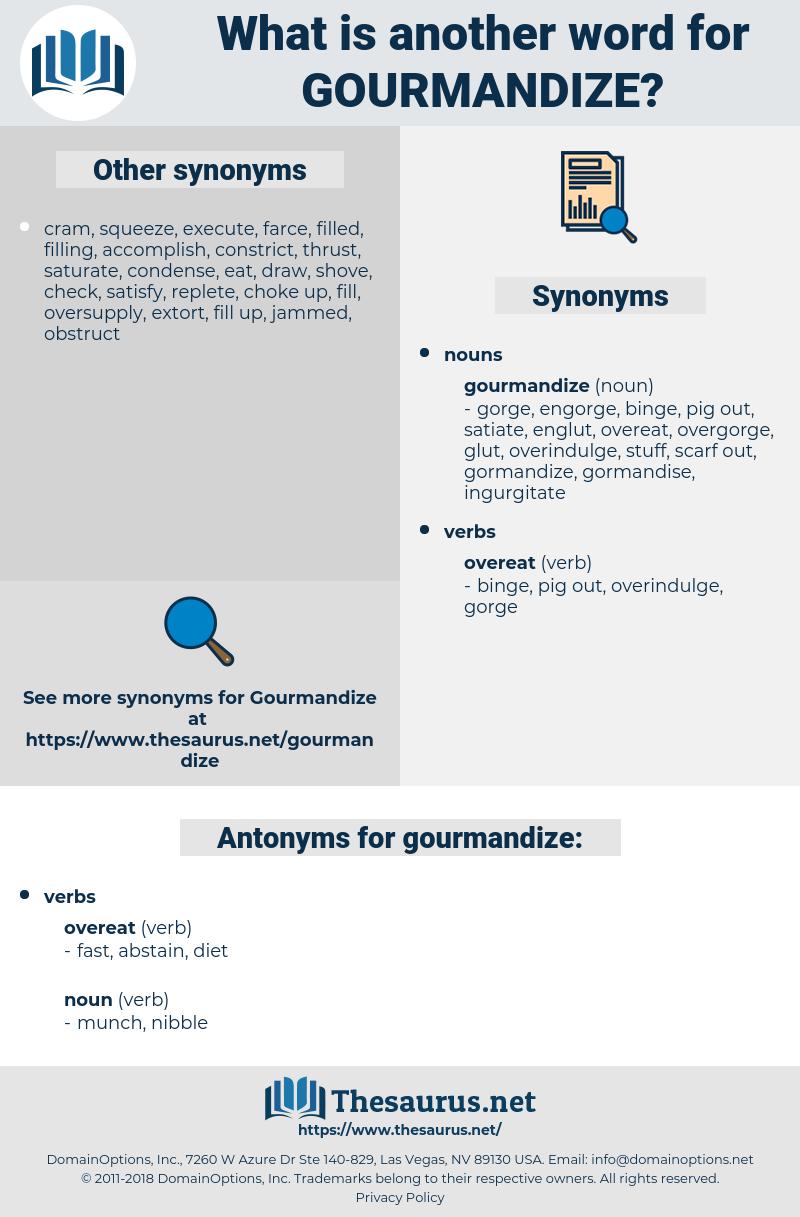 gourmandize, synonym gourmandize, another word for gourmandize, words like gourmandize, thesaurus gourmandize