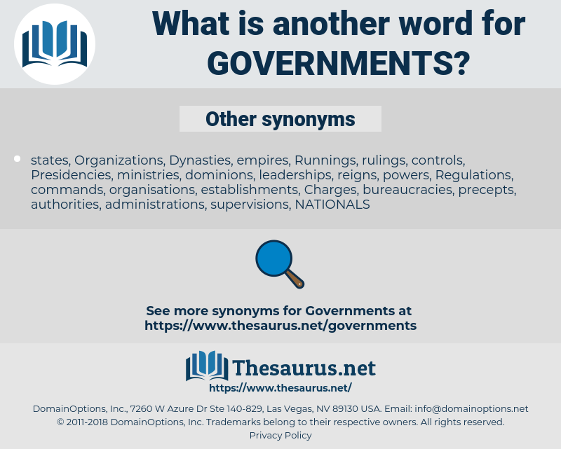 Governments, synonym Governments, another word for Governments, words like Governments, thesaurus Governments