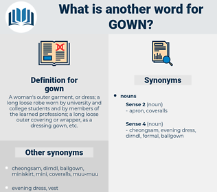 gown, synonym gown, another word for gown, words like gown, thesaurus gown