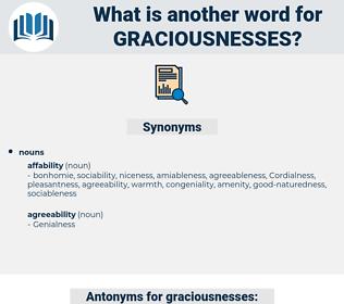 graciousnesses, synonym graciousnesses, another word for graciousnesses, words like graciousnesses, thesaurus graciousnesses