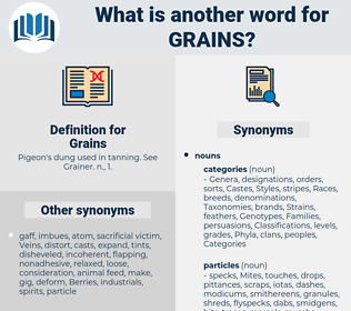 Grains, synonym Grains, another word for Grains, words like Grains, thesaurus Grains