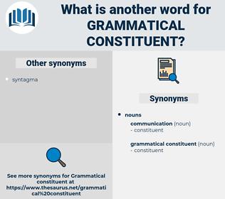 grammatical constituent, synonym grammatical constituent, another word for grammatical constituent, words like grammatical constituent, thesaurus grammatical constituent