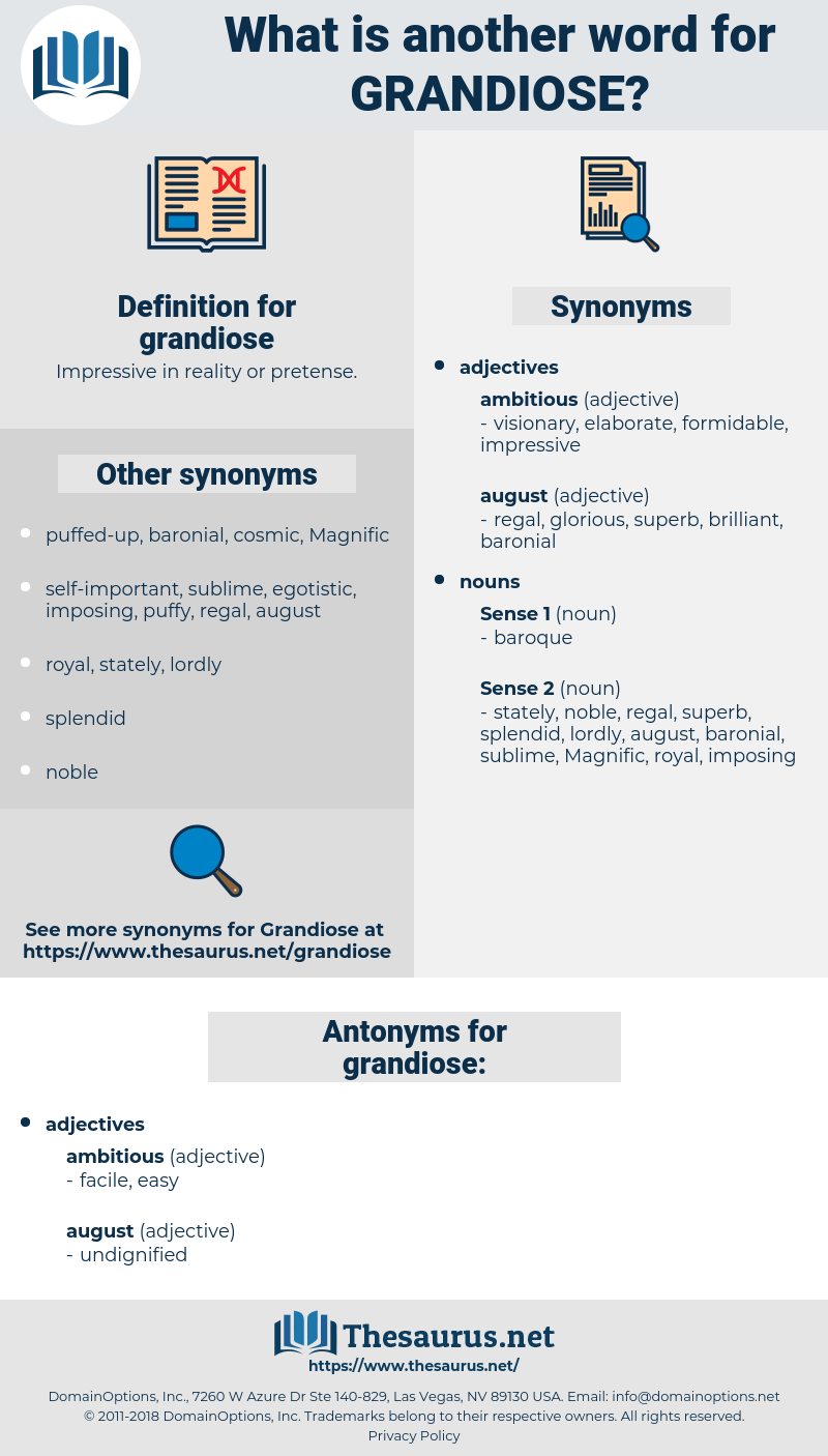 grandiose, synonym grandiose, another word for grandiose, words like grandiose, thesaurus grandiose