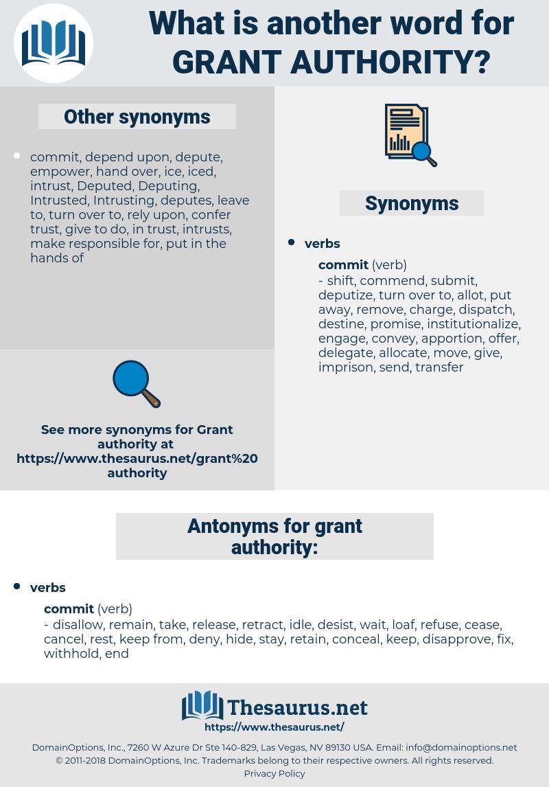 grant authority, synonym grant authority, another word for grant authority, words like grant authority, thesaurus grant authority