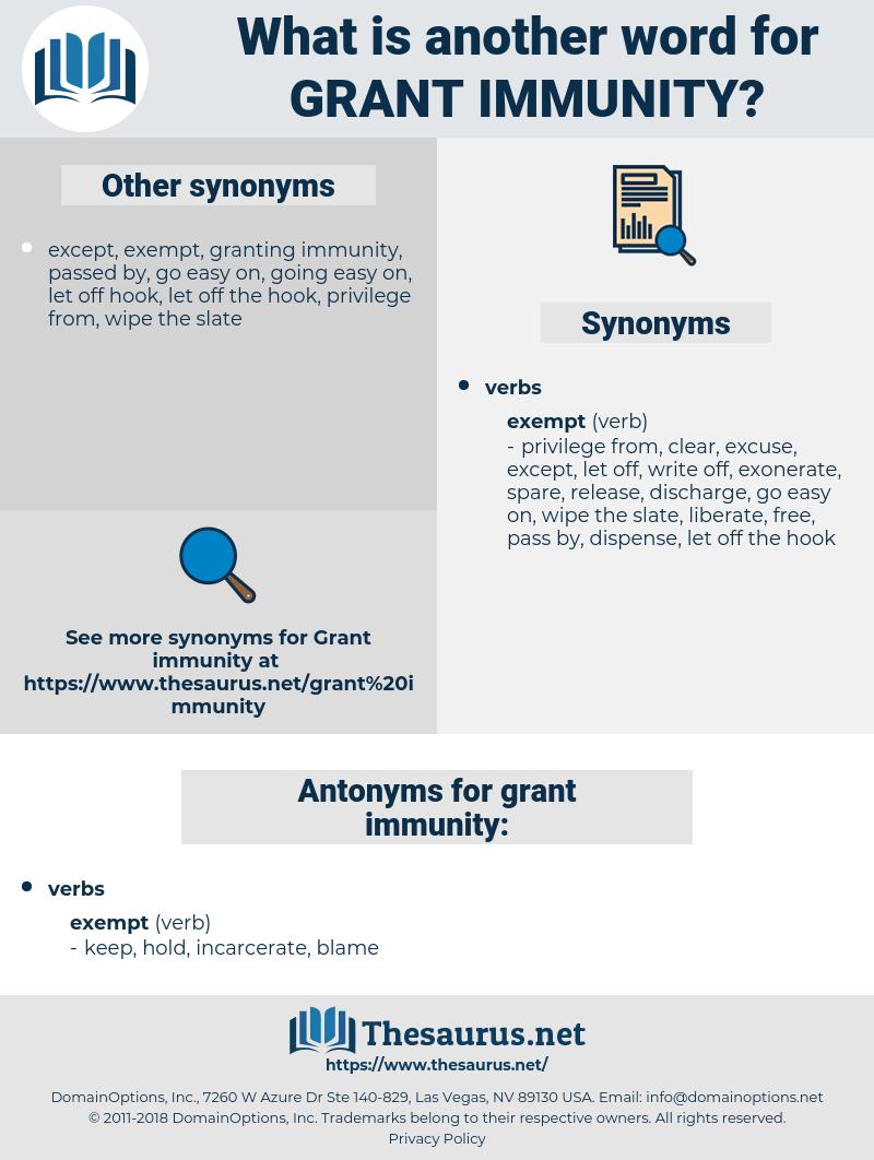 grant immunity, synonym grant immunity, another word for grant immunity, words like grant immunity, thesaurus grant immunity