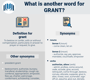 grant, synonym grant, another word for grant, words like grant, thesaurus grant