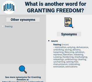 granting freedom, synonym granting freedom, another word for granting freedom, words like granting freedom, thesaurus granting freedom
