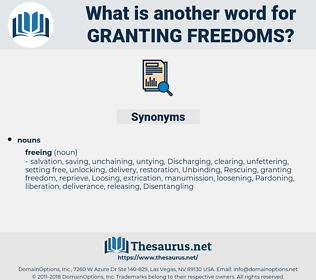 granting freedoms, synonym granting freedoms, another word for granting freedoms, words like granting freedoms, thesaurus granting freedoms