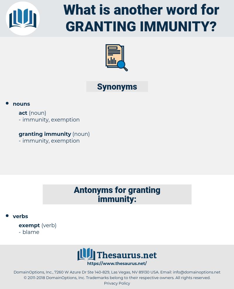 granting immunity, synonym granting immunity, another word for granting immunity, words like granting immunity, thesaurus granting immunity