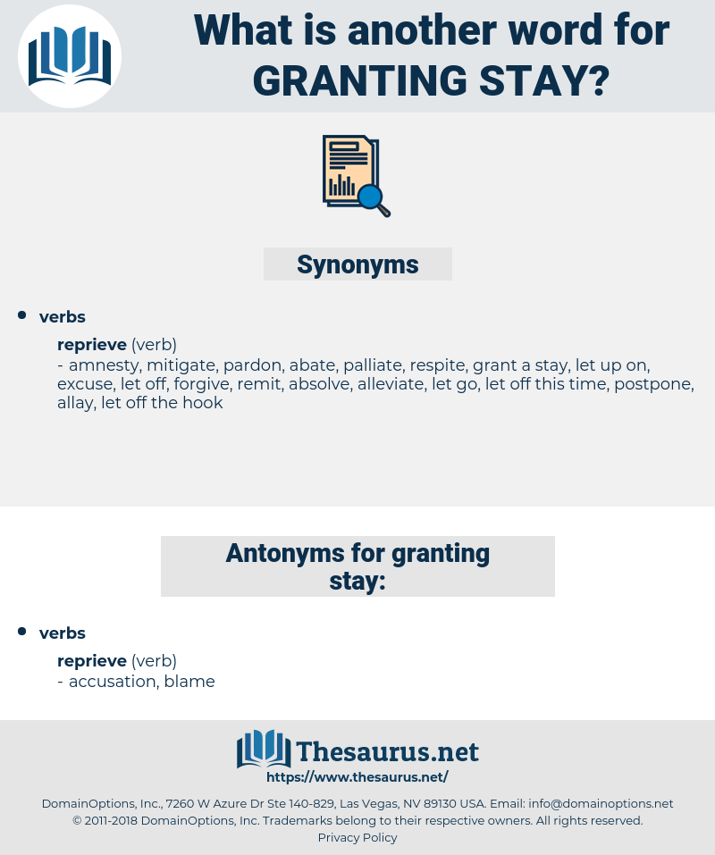 granting stay, synonym granting stay, another word for granting stay, words like granting stay, thesaurus granting stay