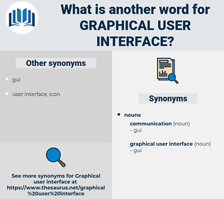 graphical user interface, synonym graphical user interface, another word for graphical user interface, words like graphical user interface, thesaurus graphical user interface
