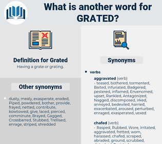 Grated, synonym Grated, another word for Grated, words like Grated, thesaurus Grated
