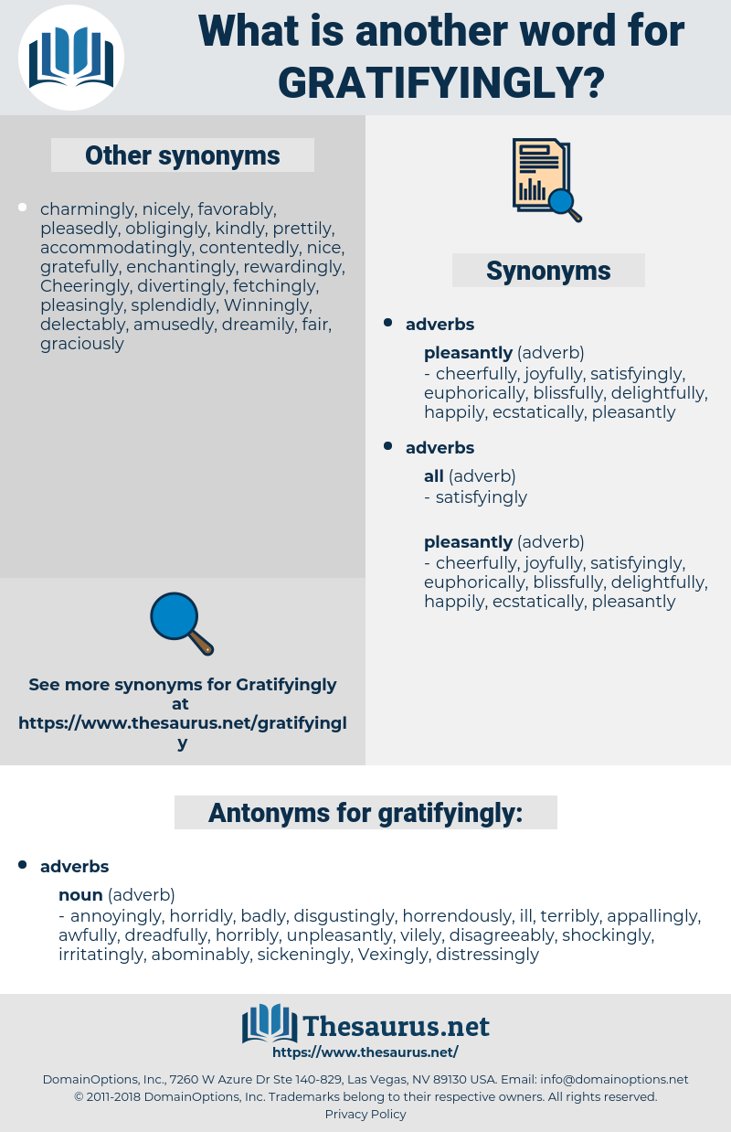gratifyingly, synonym gratifyingly, another word for gratifyingly, words like gratifyingly, thesaurus gratifyingly