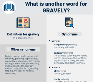 gravely, synonym gravely, another word for gravely, words like gravely, thesaurus gravely