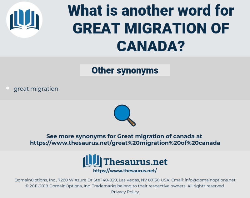 great migration of canada, synonym great migration of canada, another word for great migration of canada, words like great migration of canada, thesaurus great migration of canada