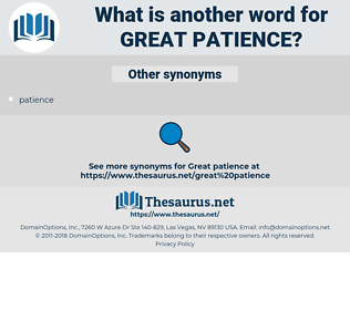 great patience, synonym great patience, another word for great patience, words like great patience, thesaurus great patience
