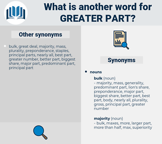 greater part, synonym greater part, another word for greater part, words like greater part, thesaurus greater part