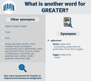 greater, synonym greater, another word for greater, words like greater, thesaurus greater