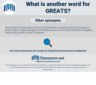 greats, synonym greats, another word for greats, words like greats, thesaurus greats