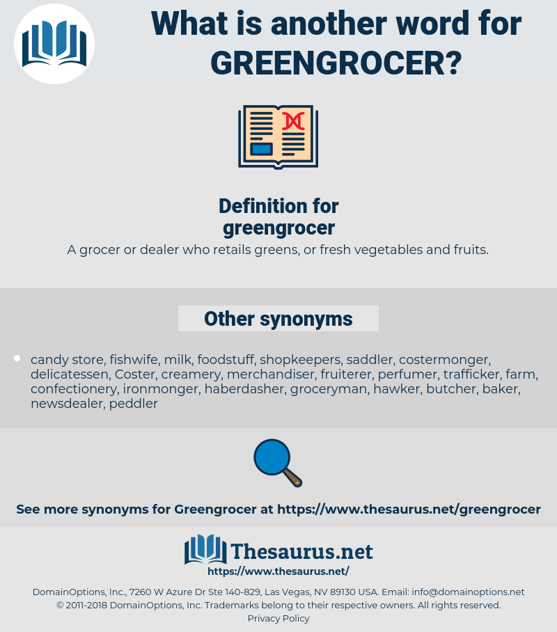 Synonyms for GREENGROCER - Thesaurus net