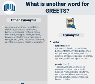 greets, synonym greets, another word for greets, words like greets, thesaurus greets