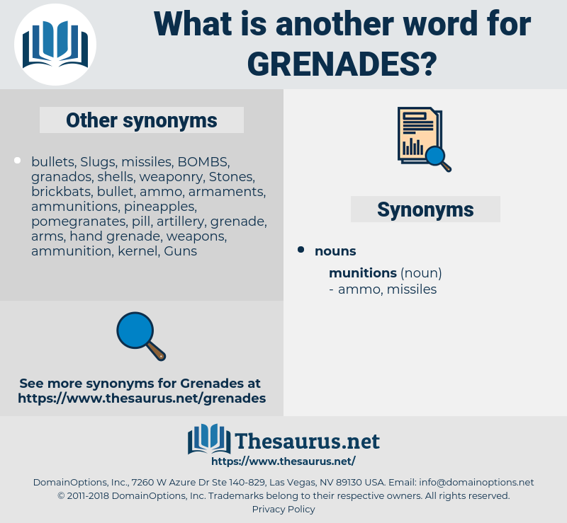 grenades, synonym grenades, another word for grenades, words like grenades, thesaurus grenades