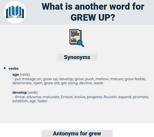 grew up, synonym grew up, another word for grew up, words like grew up, thesaurus grew up