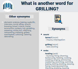 grilling, synonym grilling, another word for grilling, words like grilling, thesaurus grilling