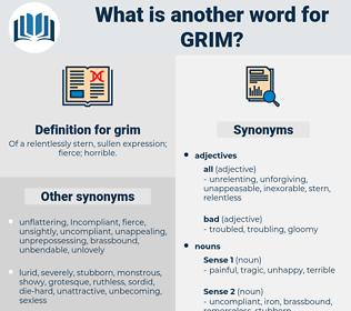 grim, synonym grim, another word for grim, words like grim, thesaurus grim