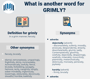 grimly, synonym grimly, another word for grimly, words like grimly, thesaurus grimly
