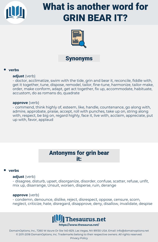 grin bear it, synonym grin bear it, another word for grin bear it, words like grin bear it, thesaurus grin bear it
