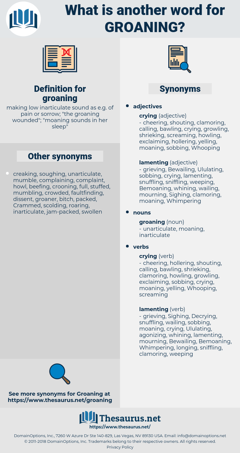 groaning, synonym groaning, another word for groaning, words like groaning, thesaurus groaning