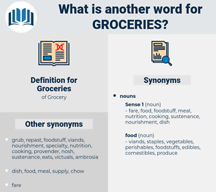 Groceries, synonym Groceries, another word for Groceries, words like Groceries, thesaurus Groceries