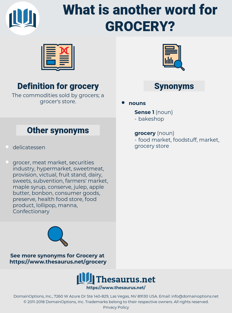 grocery, synonym grocery, another word for grocery, words like grocery, thesaurus grocery