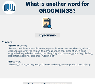groomings, synonym groomings, another word for groomings, words like groomings, thesaurus groomings