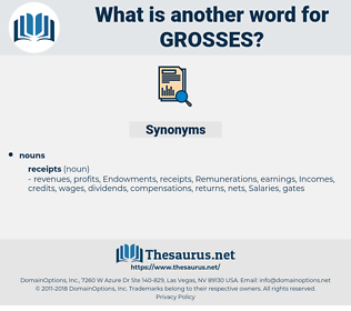 grosses, synonym grosses, another word for grosses, words like grosses, thesaurus grosses