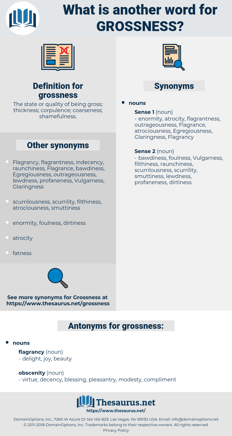 grossness, synonym grossness, another word for grossness, words like grossness, thesaurus grossness