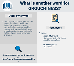 grouchiness, synonym grouchiness, another word for grouchiness, words like grouchiness, thesaurus grouchiness