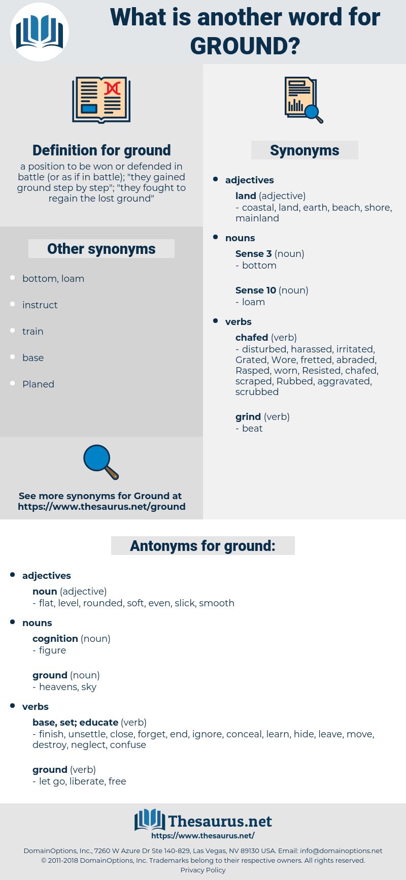 ground, synonym ground, another word for ground, words like ground, thesaurus ground