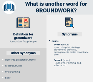 groundwork, synonym groundwork, another word for groundwork, words like groundwork, thesaurus groundwork