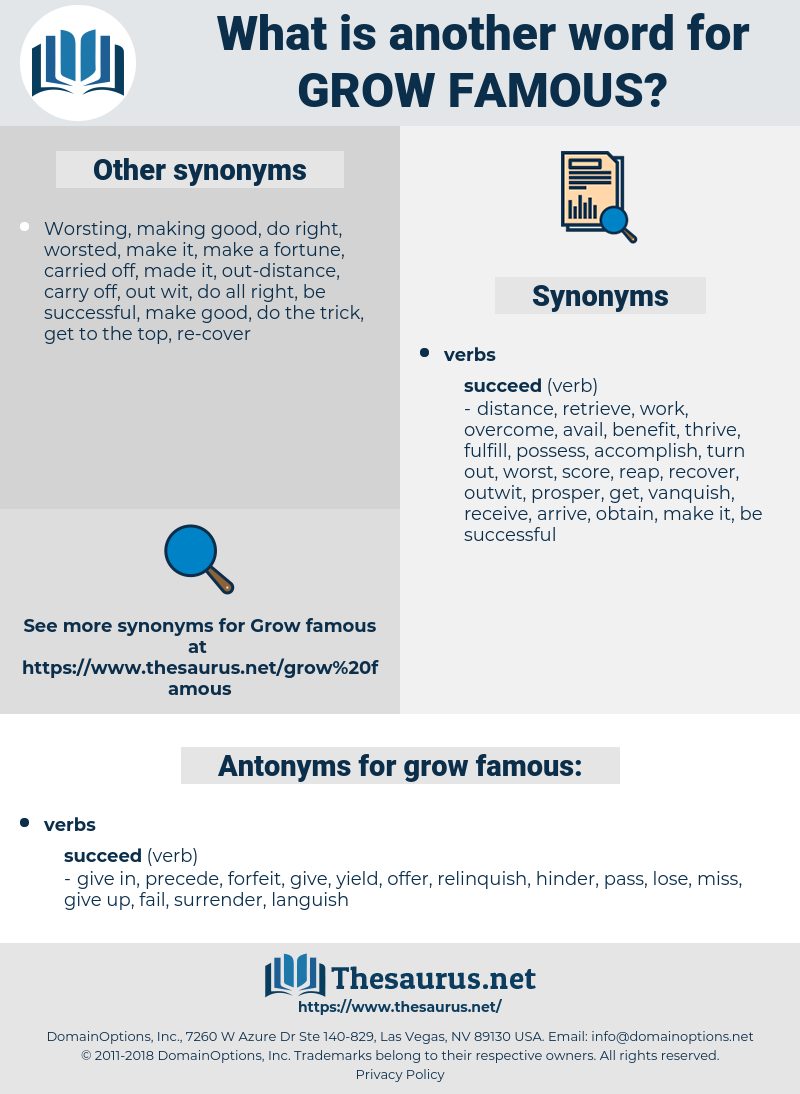 grow famous, synonym grow famous, another word for grow famous, words like grow famous, thesaurus grow famous